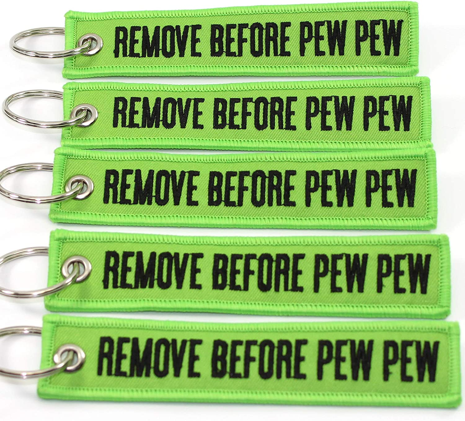 5 PEW PEW PEW! RED//White Chamber Flag Key Chain