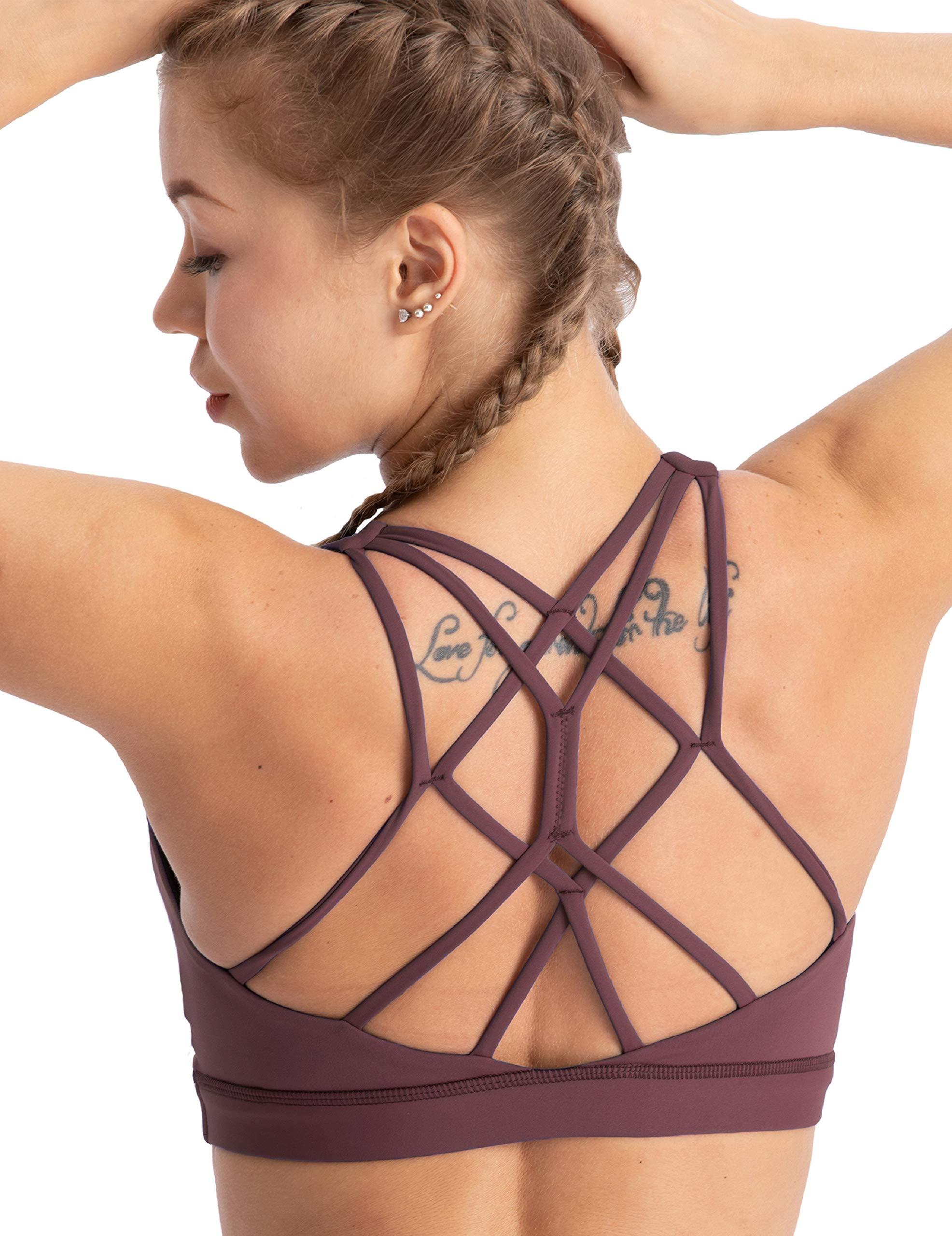 coastal rose Women's Yoga Bra Top Strappy Back Push Up Crop Sports Bra Activewear US XS Port Royale by coastal rose