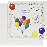 Amazon ancient greek greece personalized birthday greetings image of happy birthday in greek with balloons confetti greeting card 6 x 6 m4hsunfo