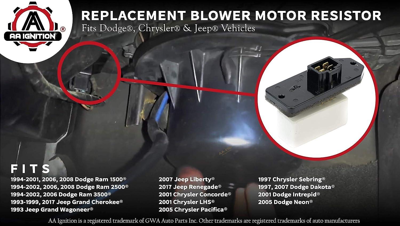 Replacement Parts 2500 HVAC Blower Motor Fan Resistor 68004241AA ...