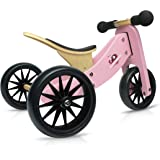 Kinderfeets TinyTot Wooden Balance Bike and Tricycle, Convertible No Pedal Balance Trike for Kids and Push Bike, Pink - 2 in 1