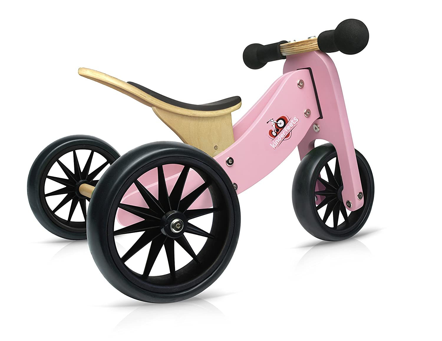 Kinderfeets TinyTot - 2-in-1! Wooden Balance Bike and Tricycle in One. Adjustable Seat. FOR AGES 12 TO 24 MONTHS OLD (Bamboo) 98570