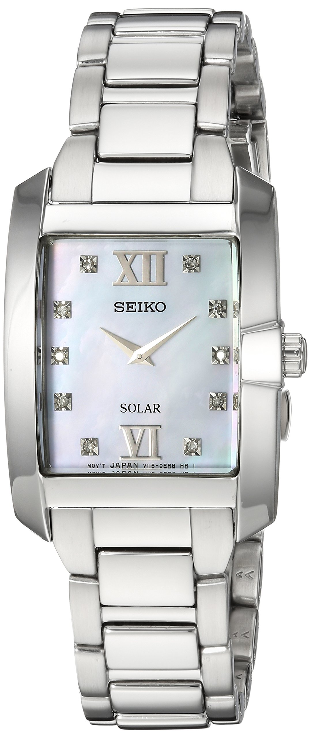 Seiko Women's 'DIAMOND SOLAR' Quartz Stainless Steel Casual Watch, Color:Silver-Toned (Model: SUP377) by Seiko