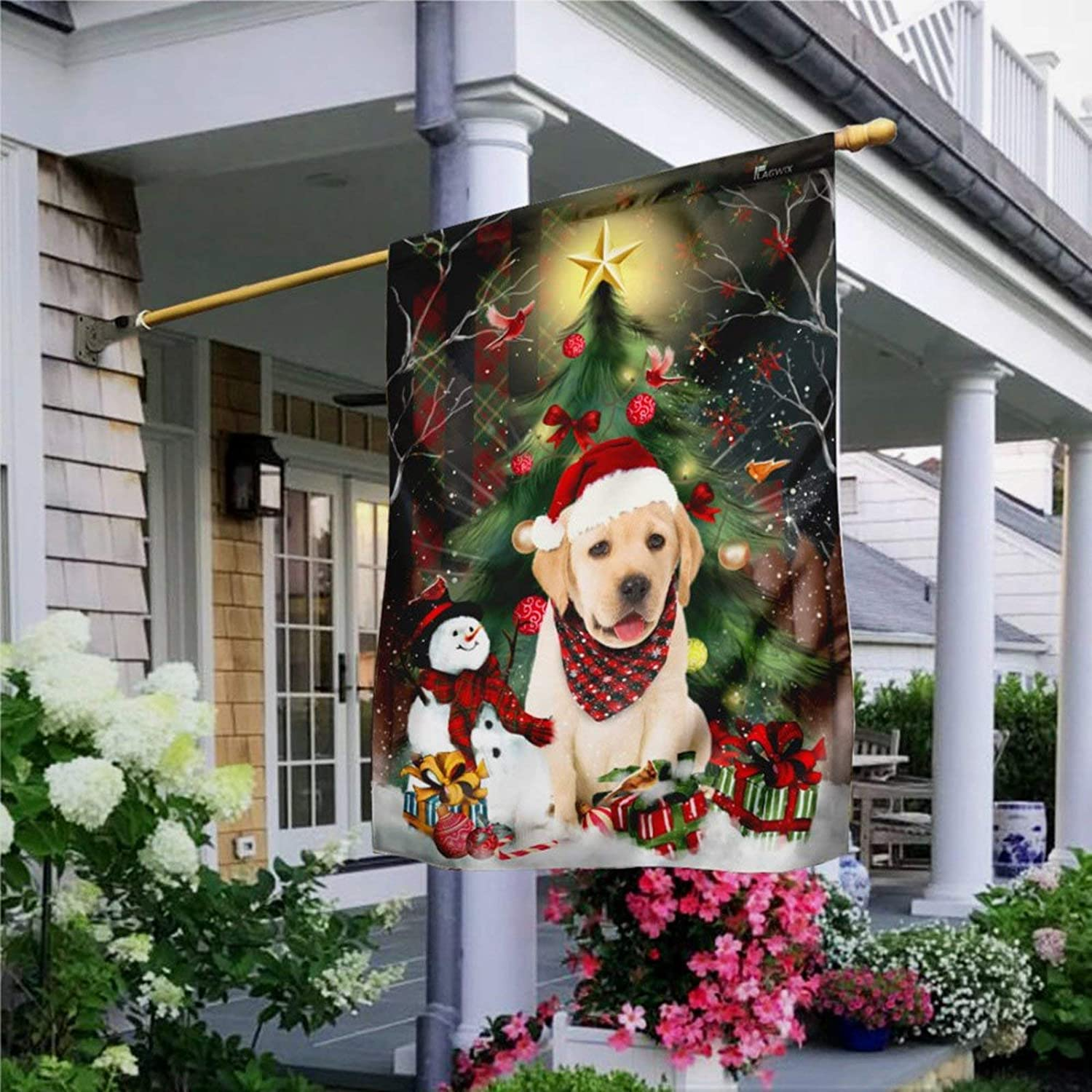 BYRON HOYLE Golden Retriever Christmas Garden Flag Decorative Holiday Seasonal Outdoor Weather Resistant Double Sided Print Farmhouse Flag Yard Patio Lawn Garden Decoration 28 x 40 Inch