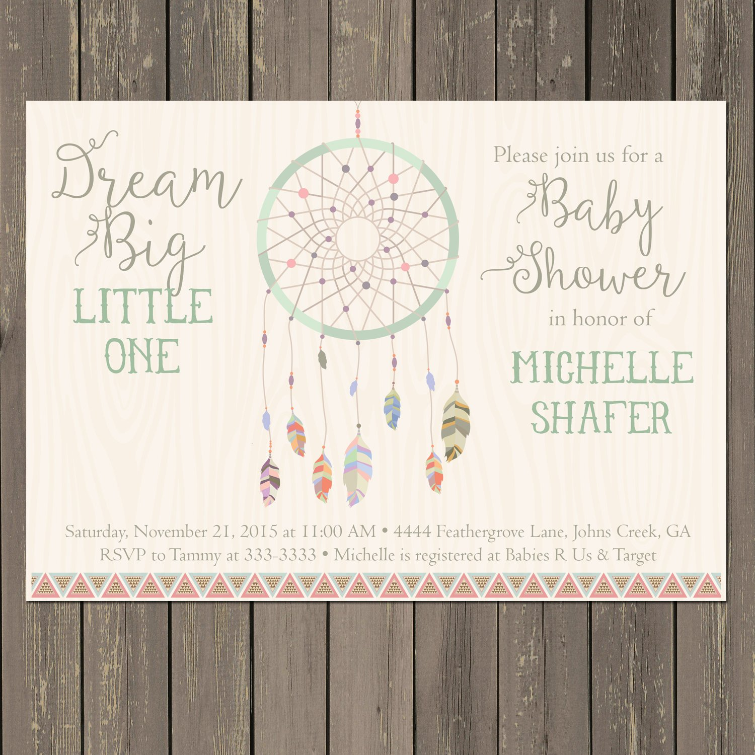 Amazon Dreamcatcher Baby Shower Invitation Dream Catcher Tribal Boho Invite Feather Bohemian Themed Gender Neutral