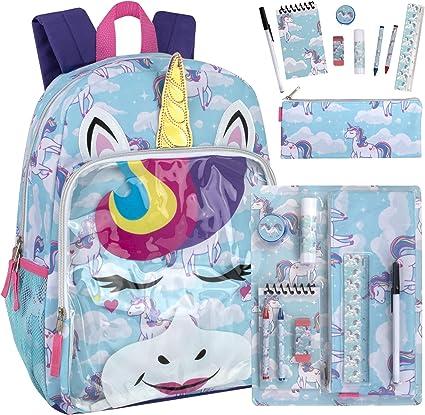 Girls Unicorn Backpack with School Supplies Bundle for Preschool, Kindergarten, Elementary School