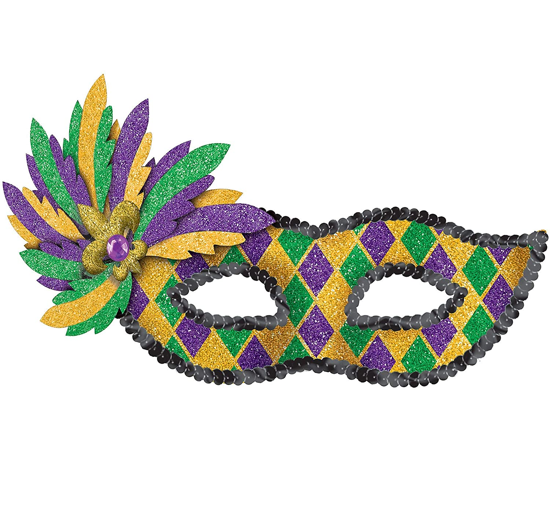Amscan 360265 Costume Mardi Gras Glitter Mask 5 1 2 x 9 Multicolor