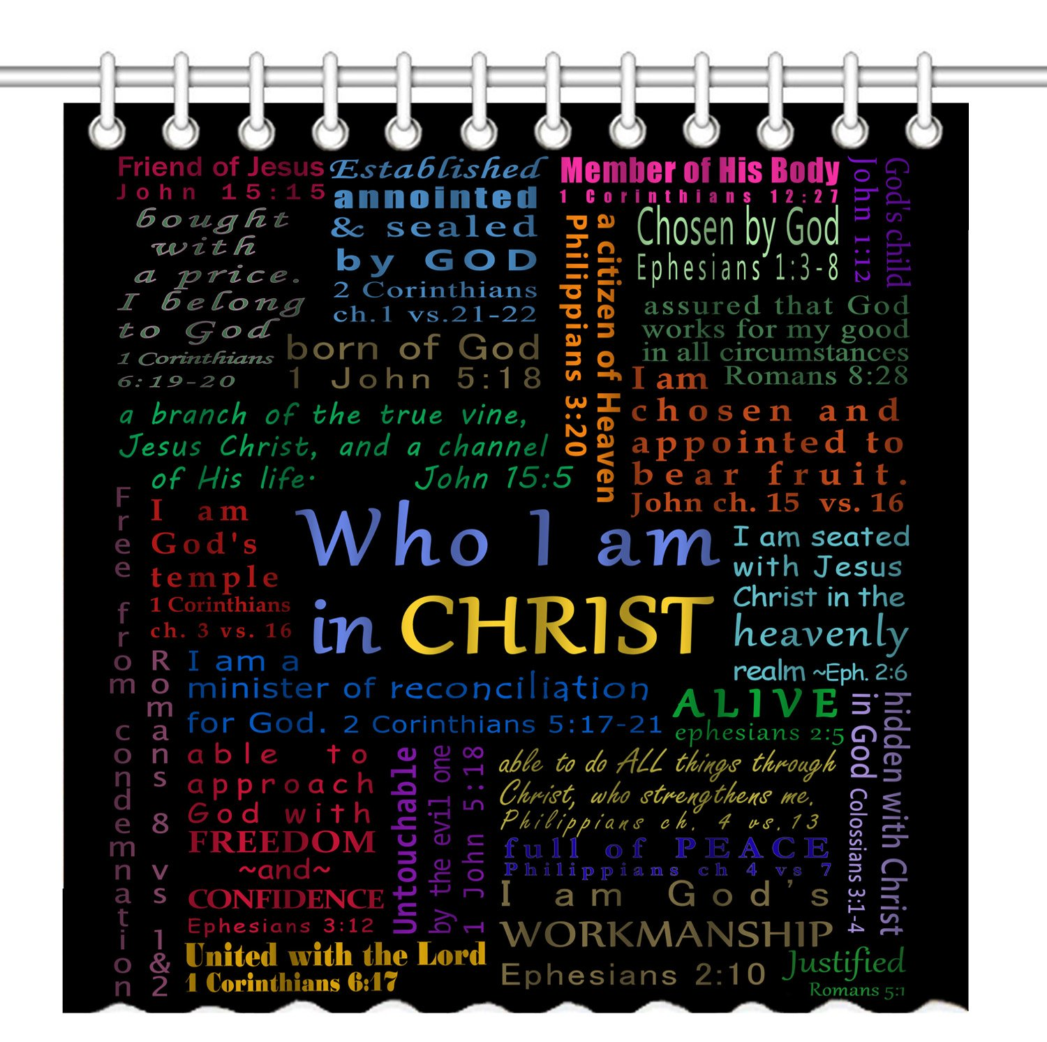 Wknoon 72 x 72 Inch Shower Curtain, Christian Bible Verse Scripture Quotes Colorful Design Art, Waterproof Polyester Fabric Decorative Bathroom Bath Curtains by Wknoon