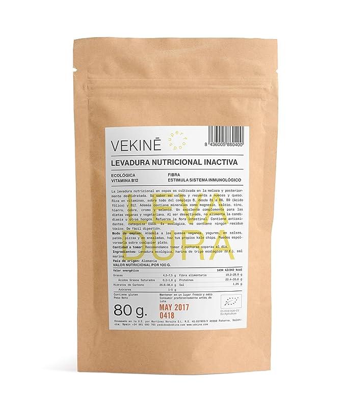 Levadura nutriconal inactiva en copos Ecológica 80 gr superalimentos CALIDAD EXTRA VEKINE Levadura con la vitamina B12: Amazon.es: Alimentación y bebidas
