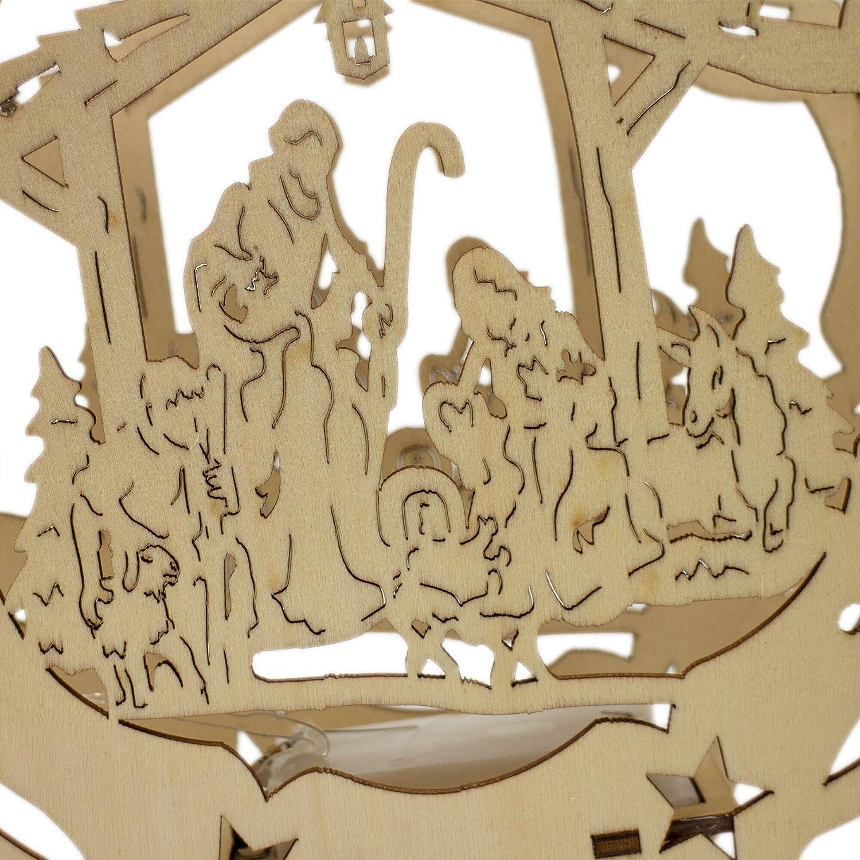 Krippenhandel Decorazione Natalizia a LED per finestre in Legno con Motivo presepe e Effetto 3D