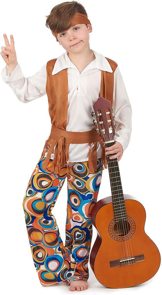 Disfraz de hippie marrón para niño 10 - 12 ans (L): Amazon.es ...