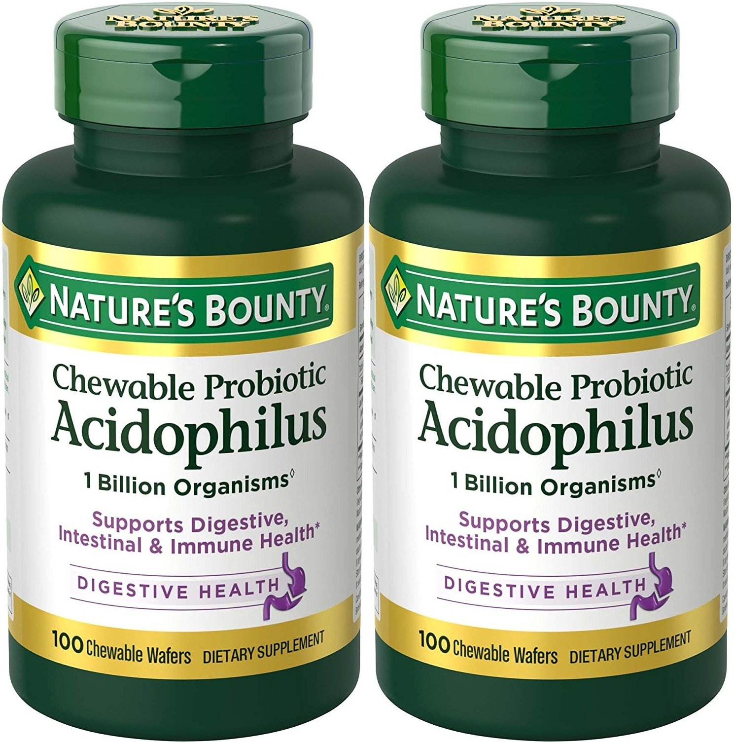 Nature's Bounty Acidophilus with Lactis Chewable Milk Free Wafers, Natural Strawberry Flavor, 100 Count (Pack of 2)