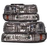 Chevrolet Silverado/Tahoe/Suburban Chrome Smoke Headlights Set w/Halogen-Type Xenons