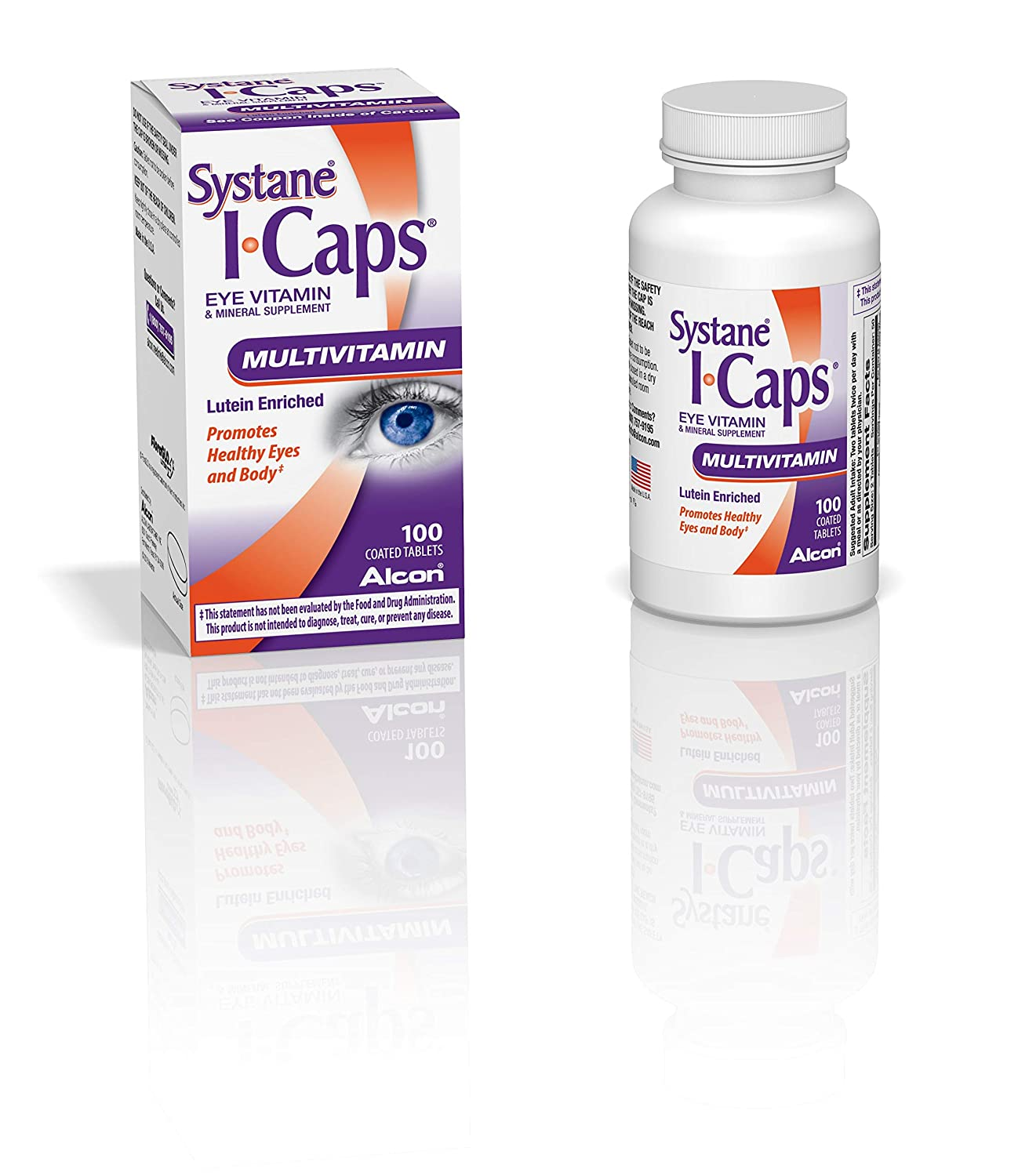 Systane ICaps Eye Vitamin Mineral Supplement, Multivitamin Formula, 100 Coated Tablets