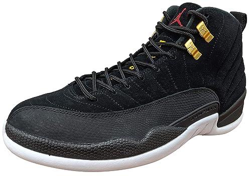 Jordan Mens AIR Retro 12 Basketball Shoes (9.5, Black/Black/White ...