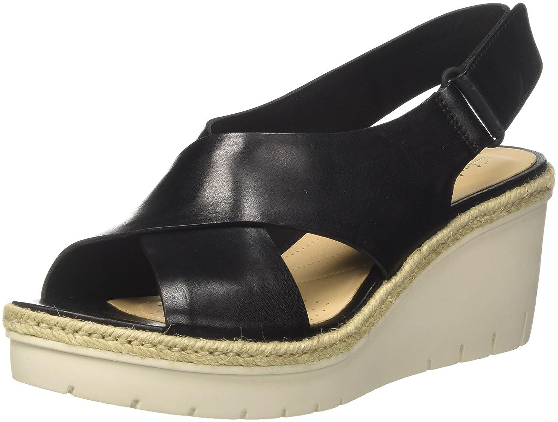 Clarks Palm Glow, Sandali con Cinturino alla Caviglia Donna  Nero (Black Leather)