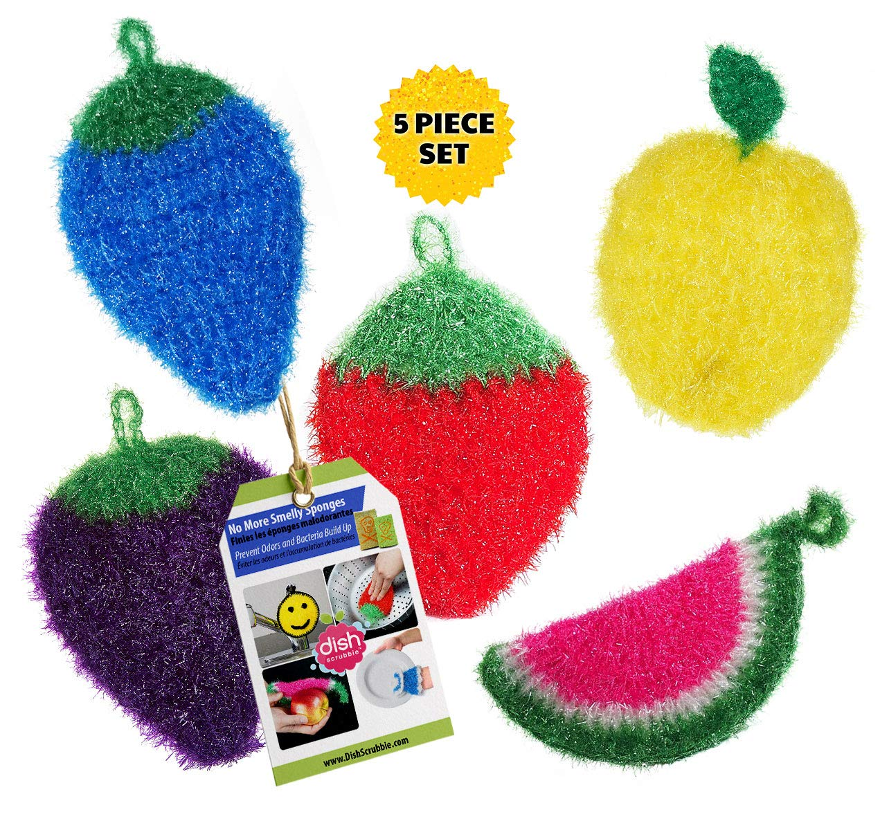 Dish Scrubber for Dishwashing (3 PK Mix) | Net Cloth Scrubber / Washcloth / Dish Rag Cloths | No Mildew Odor Smell like Sponge or Dishcloths | Stocking Stuffers for Women Mom Dish Scrubbie DSAA1001