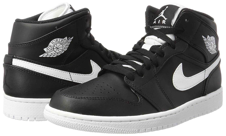 f9f53a37356764 Amazon.com  Nike Men s Air Jordan 1 Mid Basketball Shoe Cool Black White- White 10.5  Sports   Outdoors
