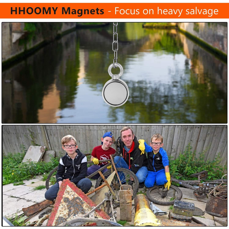 Starker Neodym-Magnet mit Ringschraube Doppelseitiger Magnet Fischen-Magnet mit Seil x 65ft Vertikale Spannung 300KG Perfekt f/ür Magnetisches Fischen und Bergung im Fluss Durchmesser 60mm 20m