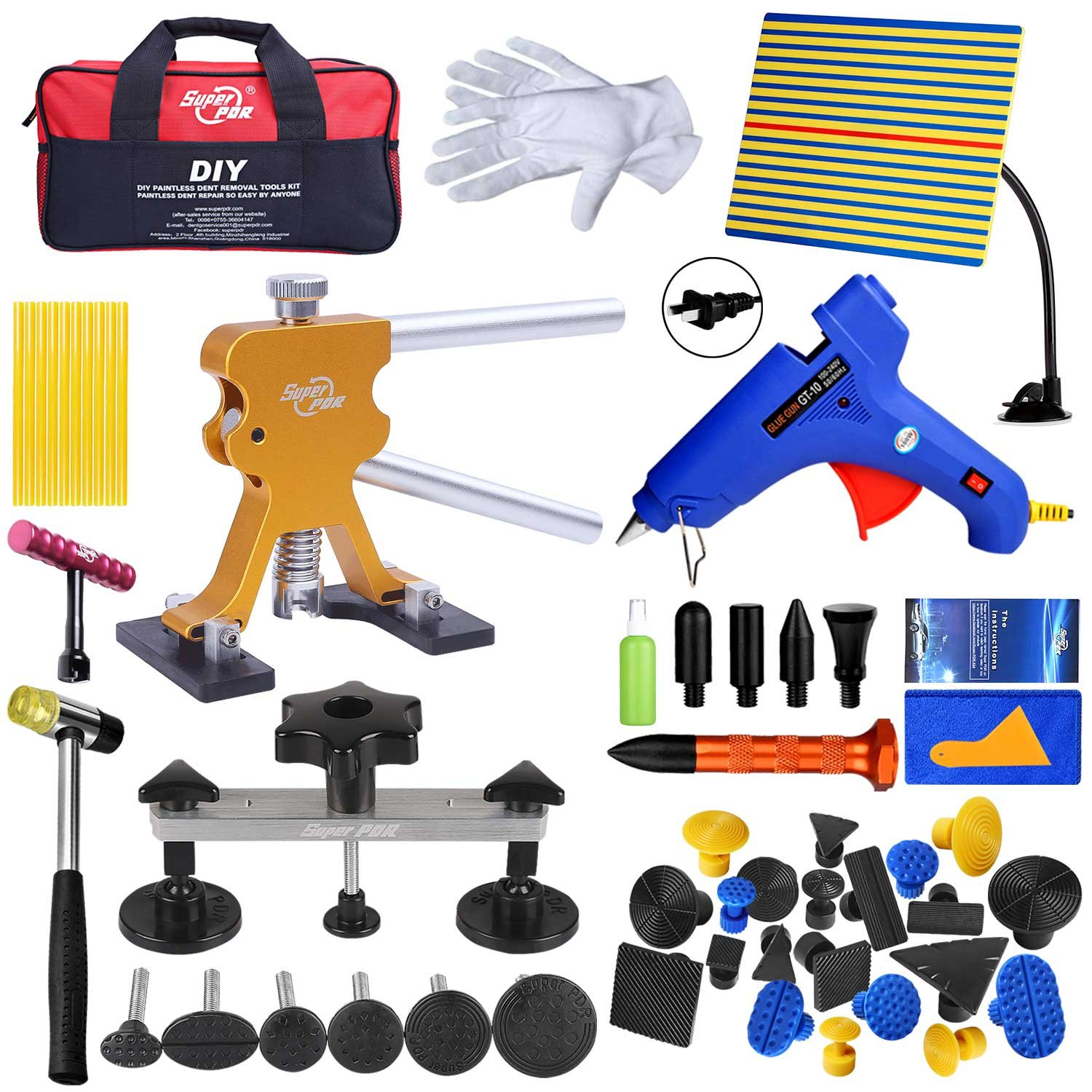 Fly5D Paintless Auto Car Body Dent Repair Removal Kits Set Dent Glue Puller Lifter Body Shop Repair Tools (54pcs)