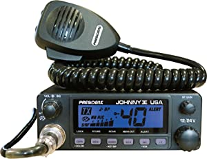 President Johnny III USA 40 Channel CB Radio 12 or 24V, Black