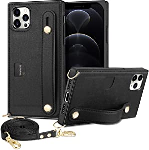 WOLLONY Compatible with iPhone 12 Pro Max Case-Wallet Case with Card Holder Kickstand Lanyard Neck Strap Adjustable Necklace Protective Cover Compatible with iPhone 12 Pro Max 6.7 inch 5G Black