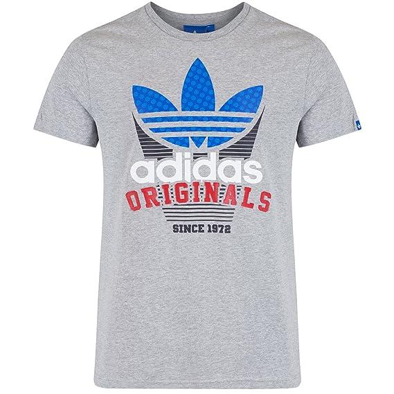 adidas Originals camisetas para hombre, de manga corta, parte superior gris – S: Amazon.es: Ropa y accesorios