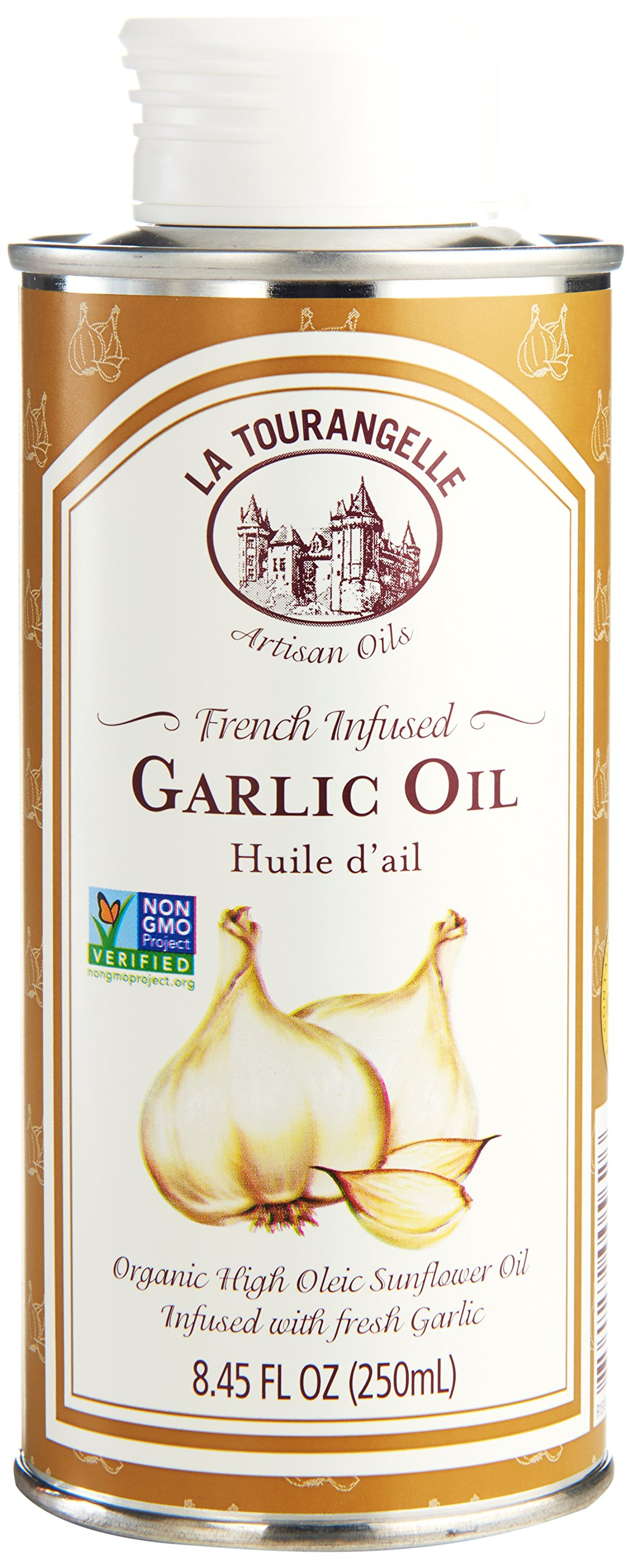 La Tourangelle Garlic Infused Sunflower Oil 8.45 Fl. Oz, Sunflower Oil Infused with Fresh Garlic for Cooking, Seasoning, and Dressing