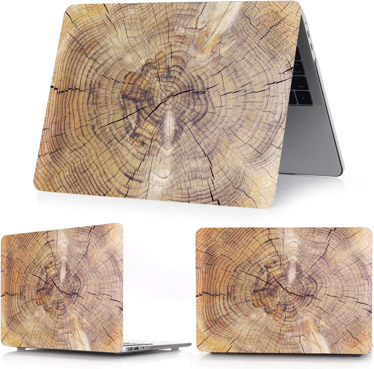 2020 for MacBook Air Pro 13 15 Touch bar Laptop,Case for MacBook Air Pro Retina 11 12 13 15 16 inch Wood Grain Hard Cover-Crystal Transparent-Air 11 A1370 A1465