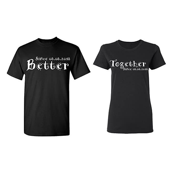 b8c35401bf Amazon.com: Zexpa Apparel Better - Together Personalized Couple Matching  Shirt Set Newly Married Customized Valentines Day Men Black/Women Black:  Clothing