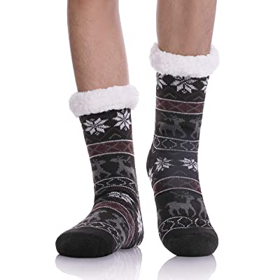 Christmas Gift Slipper Socks - Mens Boy Thick Cosy Warm Soft Fleece Thermal Fuzzy Winter Home Non Slip Slipper Socks (Black): Clothing