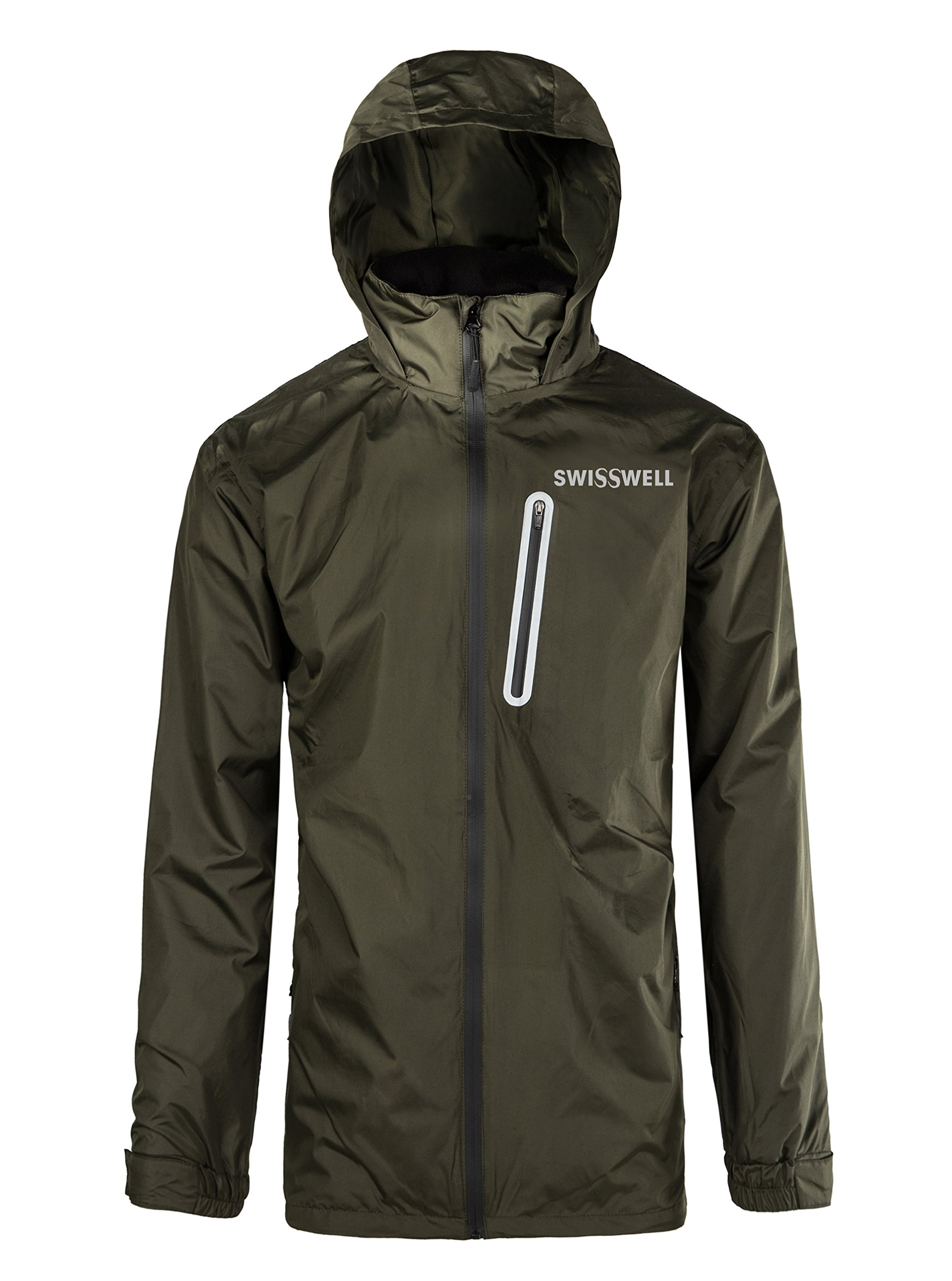 SWISSWELL Waterproof Hooded Raincoats for Men Olive-Green Small by SWISSWELL