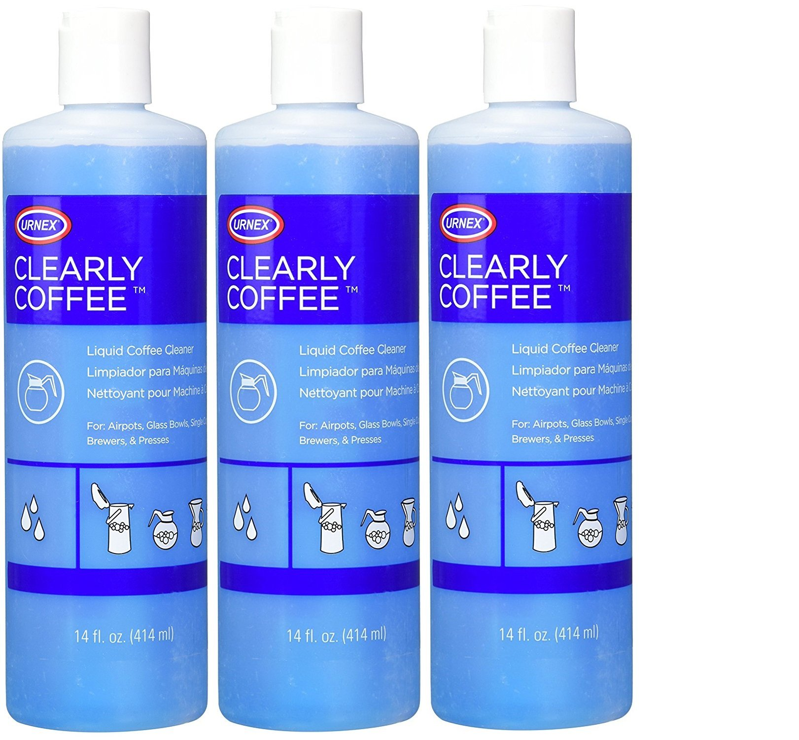 Urnex Clearly Coffee Liquid Coffee Pot Cleaner 14 0z -3PACK