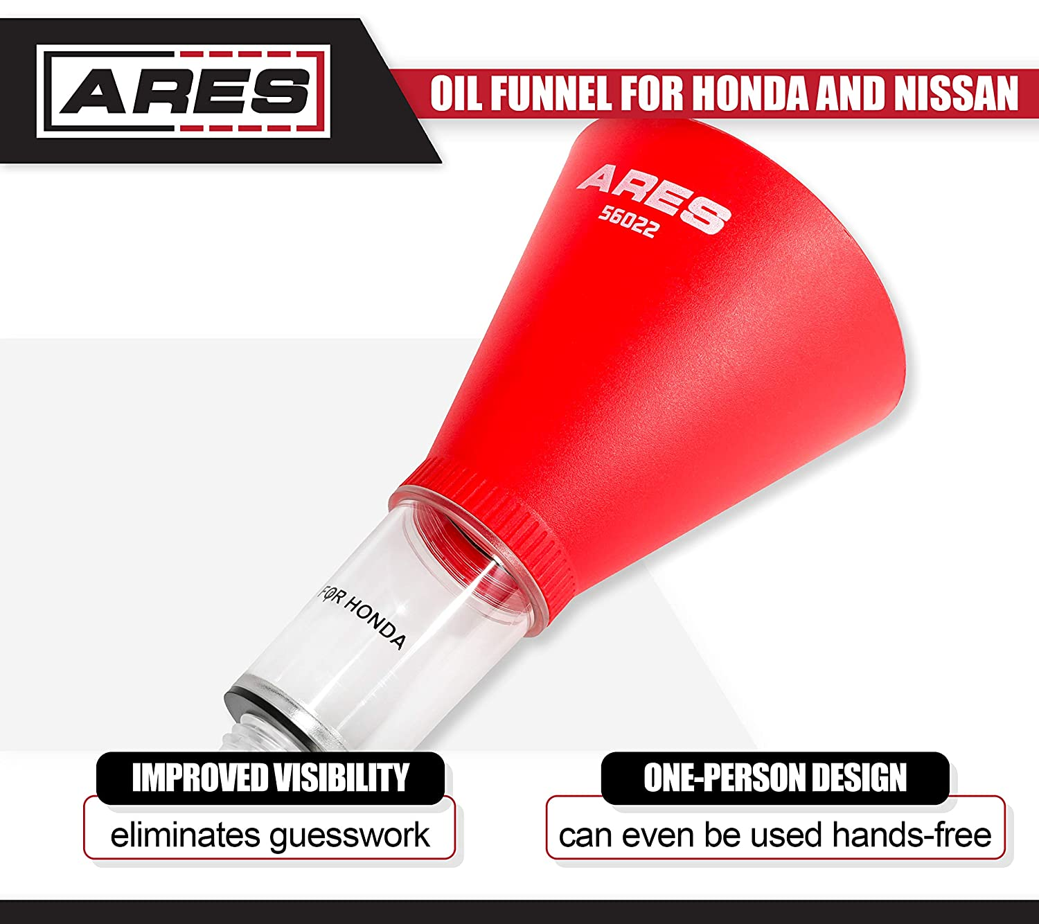 Easy to Use 1-Person Design Oil Funnel for Honda and Nissan ARES 56022 Fits Multiple Applications Spill-Free Oil Filling