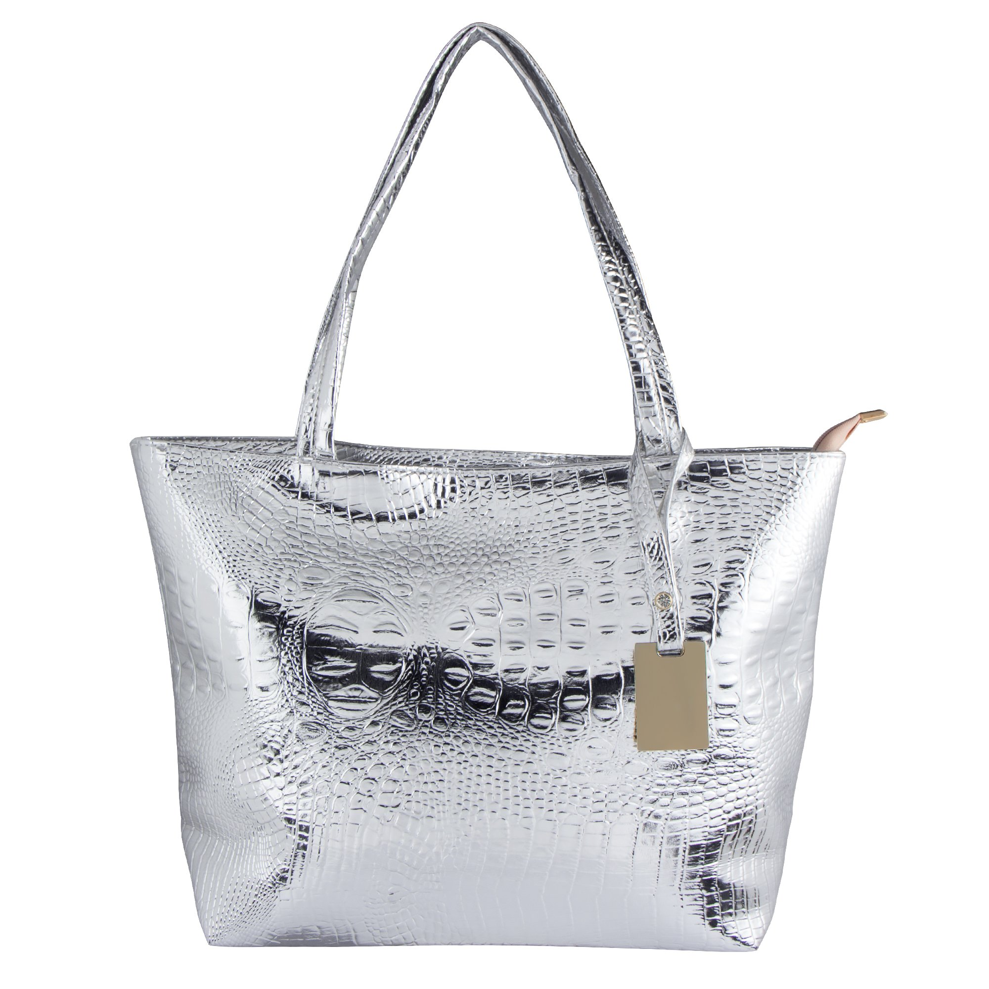 Bagood Womens Crocodile Pattern PU Leather Casual Shopping Handbags High Capacity Shoulder Ladies Soft Bag for Wedding Bridal Prom Party Silver