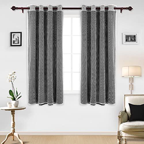 Deconovo Mix and Match Set 2 Black Thermal Insulated Blackout 2 Mesh White Sheer Curtain Panels for Bedroom, 52×63 Inch