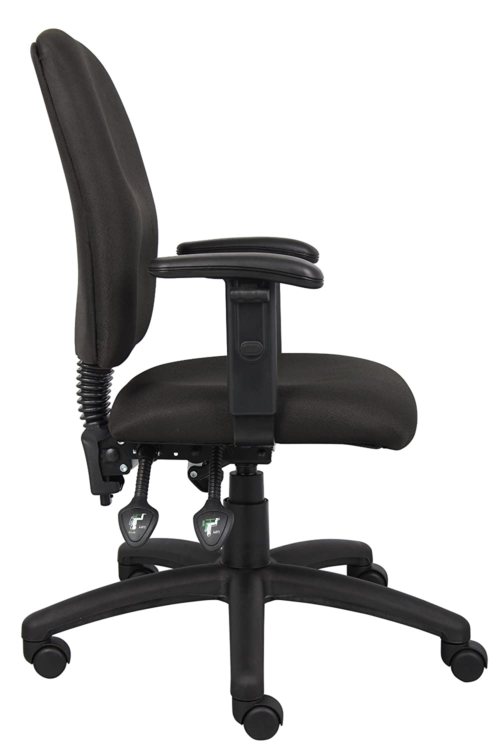 Boss Office Products B3035-BK Multi-Function Fabric Task Chair without Arms in Black 1137