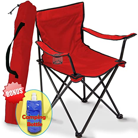 Folding C&ing Chair Portable Carry Bag for Storage and Travel Best Durable Outdoor Quad  sc 1 st  Amazon.com & Folding Camping Chair Portable Carry Bag for Storage and Travel Best Durable Outdoor Quad Beach Chairs Comfortable Arms Space Saving Lightweight ...