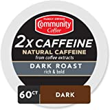 Community Coffee - 2X Caffeine Dark Roast 60 Count (6 Packs of 10) Single Serve Coffee Pods, Compatible with Keurig 2.0 K Cup Brewers