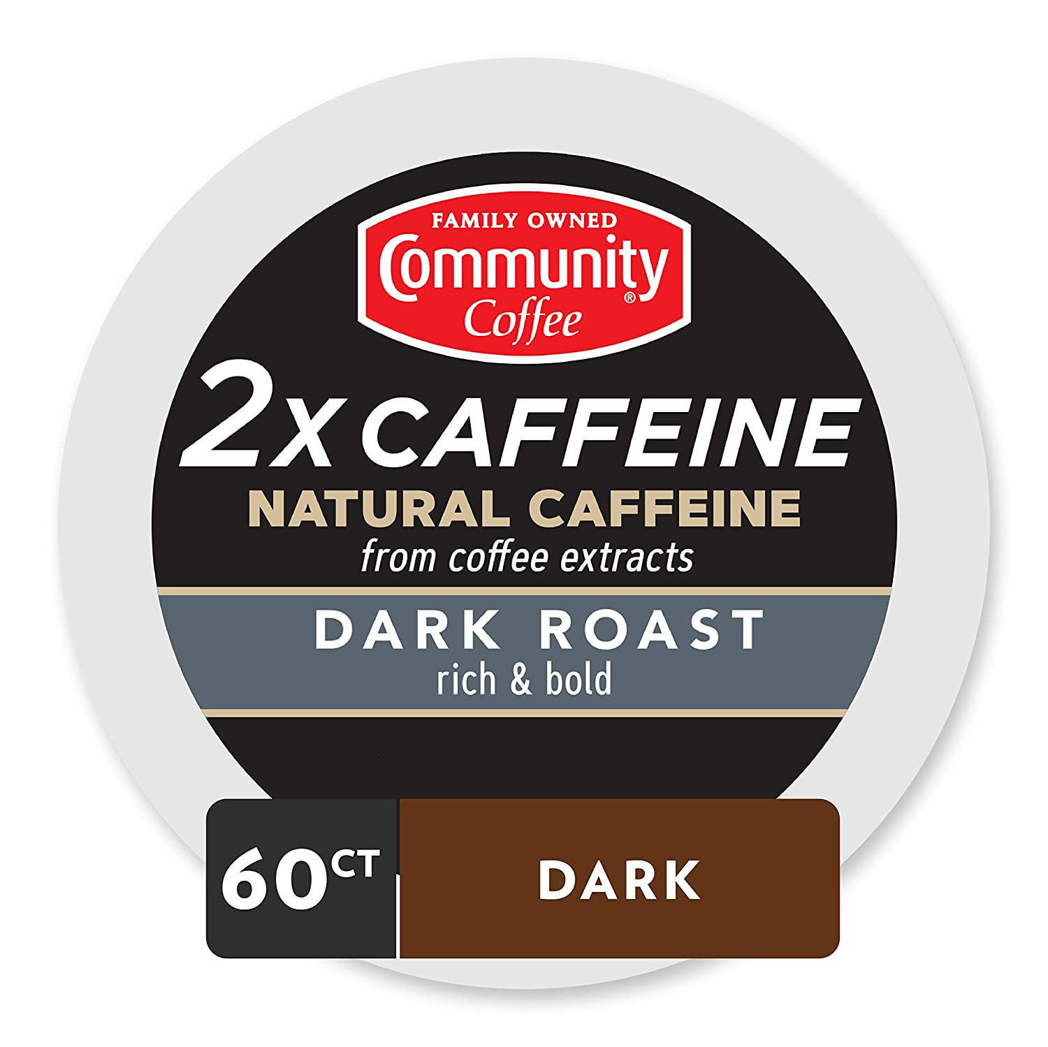 Community Coffee - 2X Caffeine Dark Roast 60Count (6 Pack of 10) Single Serve Coffee Pods, Compatible with Keurig 2.0 K Cup Brewers