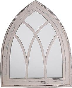Esschert Design USA WD10 Mirror Gothic, White Wash Finish