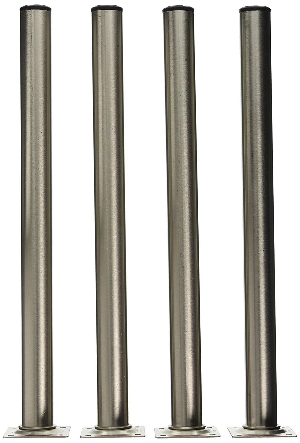 Element System 11100-00174 400 mm Length 30 mm Diameter Round Pipe Furniture Legs includes Screw-Mounting Plate - Stainless Steel Optics, Set of 4 pieces. DIY Element System