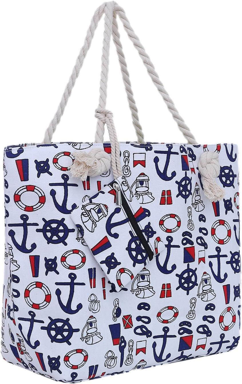 Bolsa de Playa Grande con Cremallera 58 x 38 x 18 cm diseño marítimo Barco Blanco Azul Rojo Shopper Bolsa de Hombro Estilo de yate (Yacht Style)