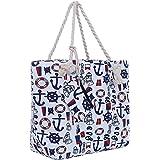 Bolsa de Playa Grande con Cremallera 58 x 38 x 18 cm diseño marítimo Barco Blanco Azul Rojo Shopper Bolsa de Hombro…