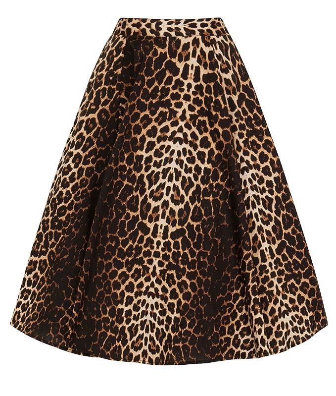 af5bad39d Hell Bunny Panthera Estampado Leopardo Circular Años 50 Falda ...