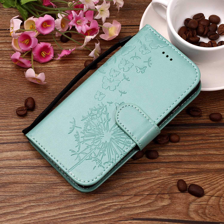 KM-Panda kompatibel mit Huawei P8 Lite 2017 Leder Tasche Klapph/ülle Schutzh/ülle Handytasche Ledertasche Handyh/ülle Lederh/ülle Flip Case h/ülle mit Kartenf/ächer L/öwenzahn Blau