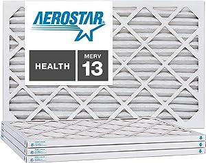 Aerostar 19 7/8x21 1/2x1 MERV 13, Pleated Air Filter, 19 7/8 x 21 1/2 x 1, Box of 4, Made in The USA