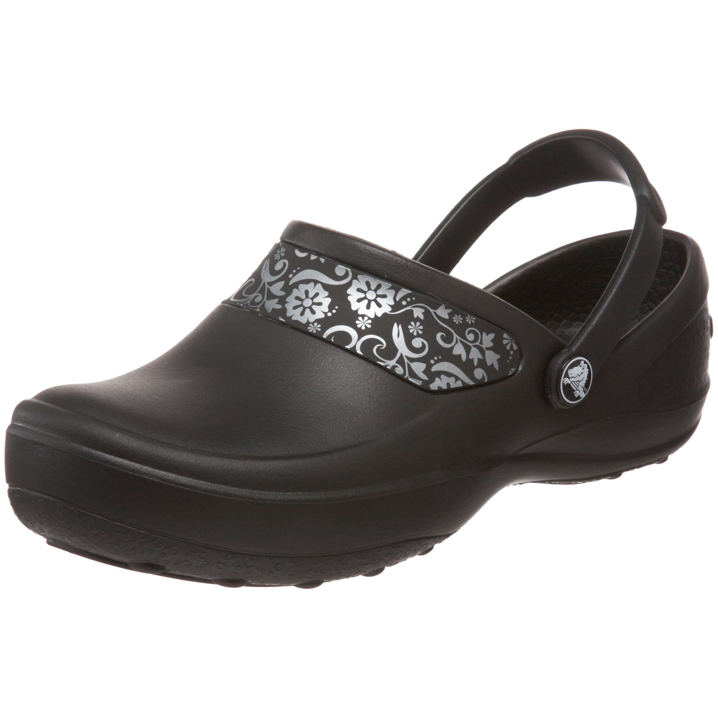 Crocs Women's Mercy Clog, Black/Silver, 8 M US