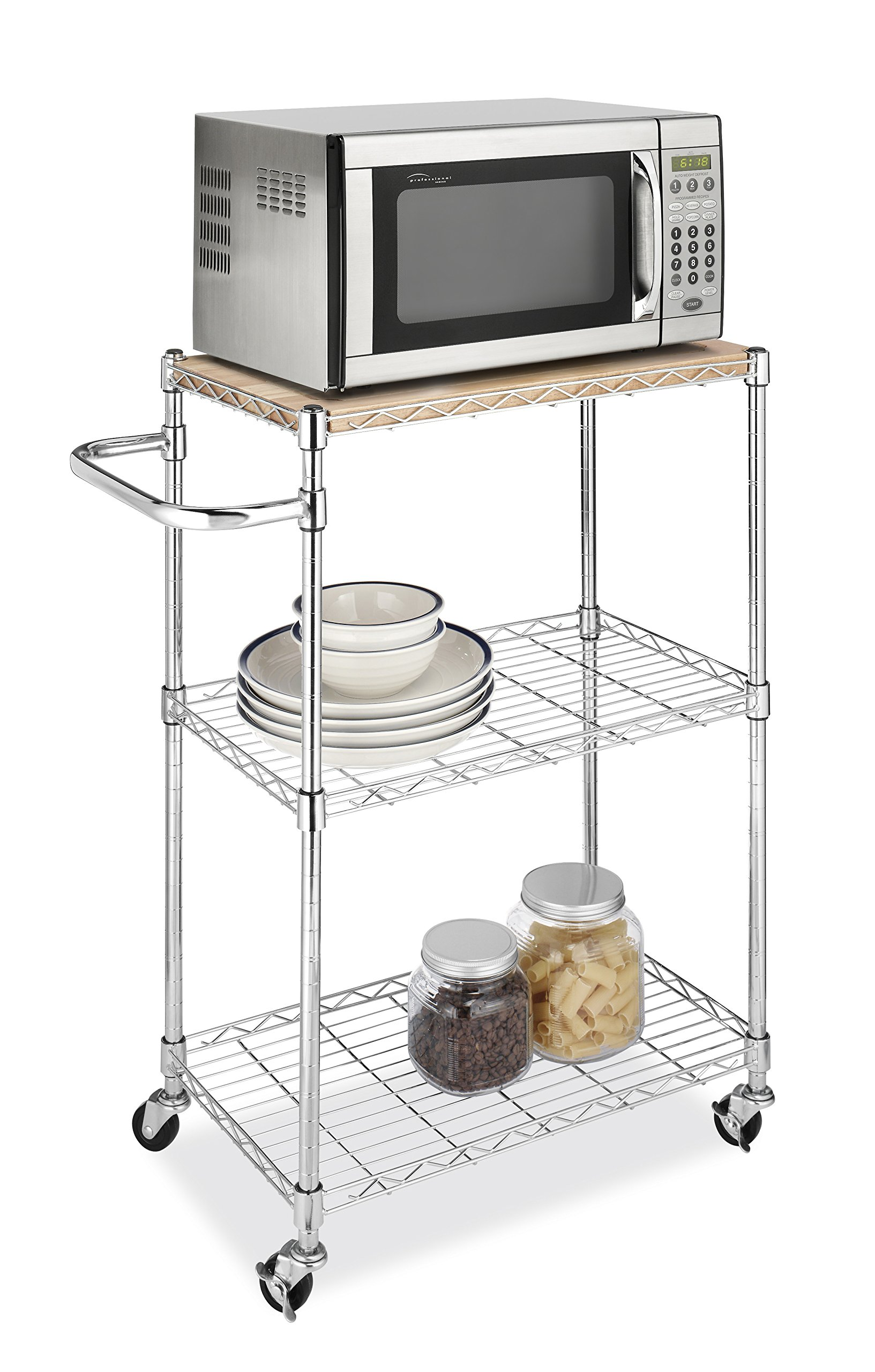 Whitmor Supreme Kitchen And Microwave Cart Wood Chrome