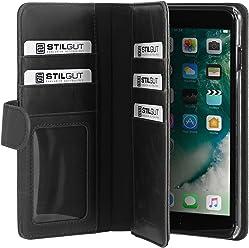 StilGut Talis XL Custodia Protettiva per iPhone 8 Plus e iPhone 7 Plus con Tasche per Carte. Chiusura a Libro Flip Case per L'Originale iPhone 8 Plus e iPhone 7 Plus, Nero